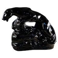 Mid century black panther television lamp ceramic