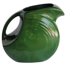 Homer Laughlin Fiesta disc water jug excellent condition, 1950s darker green
