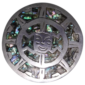 Sterling Silver Mexico brooch pendant with Abalone inlay