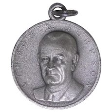 Rare presidential Lyndon Baines Johnson sterling silver pendant coin in original packaging