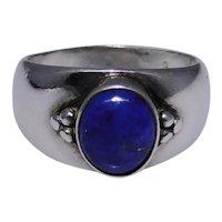 Rich blue Lapis Lazuli sterling silver band ring size: 10 Vintage