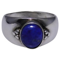Rich blue Lapis Lazuli sterling silver band ring size: 10 Vintage