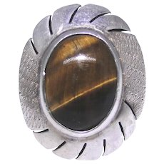 Vintage sterling silver Tiger Eye ring from Mexico size: 8.60