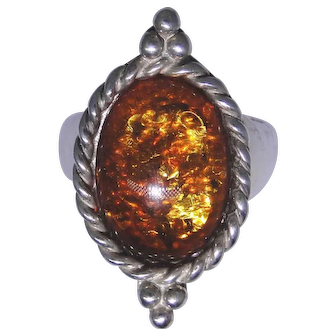Sterling silver ring with large Amber cabochon, size 9.0