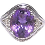 Vintage sterling silver Amethyst ring, size 5.50.