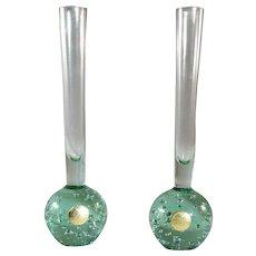 Pair Kosta bubble bud vases in green mid century