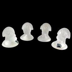 4 crystal detailed Turkey figurines by Cristallerie Antonio Imperatore