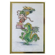 Signed handpainted artist print MIDNIGHT SNACK novelty dragon