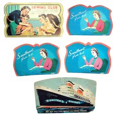 Five Vintage needle books with great colorful graphics