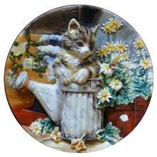 Vintage cat plate, relief, dimensional, ceramic, detailed
