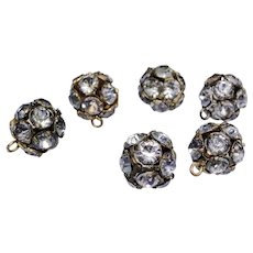 Vintage gold metal with rhinestone buttons, set of six