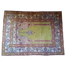 Antique 19th Century Turkish Silk Mihrab Rug circa 1890