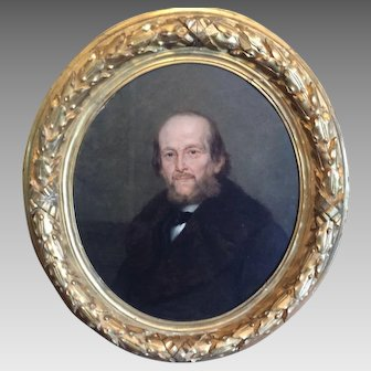 19th Century Portrait by Guglilmo de Sanctis dated 1889