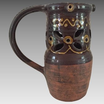 19th Century Welsh Slipware Puzzle Jug