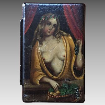 19th Century Erotic Paper-mache Snuff Box  Ca 1850