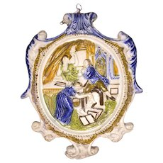 Antique 18th Century Pearlware Plaque of Shakespeare and The Muses