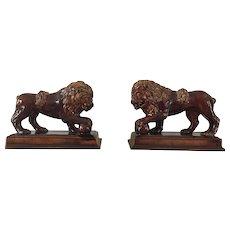 19th Century Pair of Rockingham Lions   ca. 1840