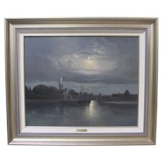 Andre Balyon Dutch Church Moonlit River Night Painting