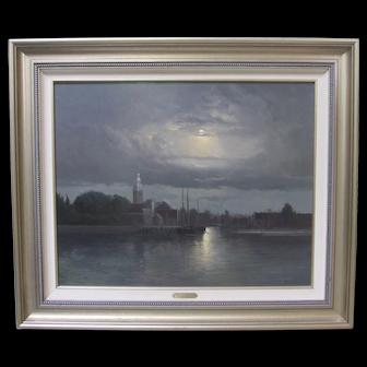 Andre Balyon Dutch Church Moonlit River Night Painting