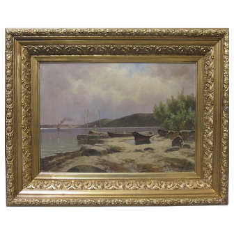 Very Fine Antique 19th Century European Oil Painting Boats Seascape Signed Dated