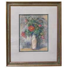 Vintage Still Life Roses Impressionist Pastel Painting Drawing Signed A. Ludwig