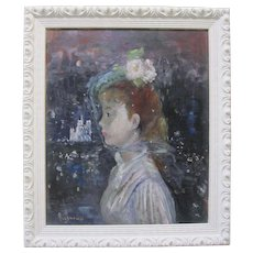 Vintage French Impressionist Painting Veiled Girl Notre Dame Night Paris