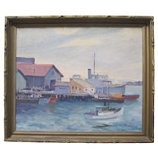 BESS GILBERT Vintage California Plein Air Impressionist Oil Painting Harbor Boats San Diego