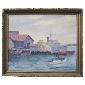 BESS GILBERT Vintage California Plein Air Impressionist Oil Painting Harbor Boats San Diego