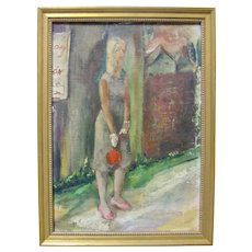 BYRON BURFORD Original Oil Painting Small Vintage Female Portrait Signed