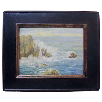 BERTHA STRINGER LEE Vintage Original Oil Painting Monterey Bay San Francisco CA Listed Plein Air