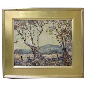 Early CA Plein Air Impressionist Landscape Eucalyptus Trees Signed Original Oil
