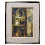 CHARLES BRAGG Modernist Greek Soldier Warrior Portrait Signed Framed