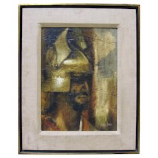 CHARLES BRAGG Modernist Greek Soldier Warrior Portrait Signed Framed