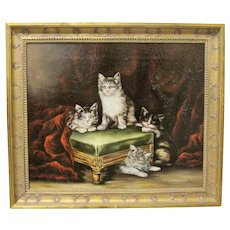 19th Century Cat Kitten Oil Painting Signed Original Antique