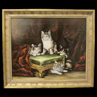 19th Century Cat Kitten Oil Painting Signed Original Antique