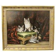 Henriette Ronner Style 19th Century Cat Kitten Oil Painting Signed Original Antique
