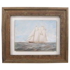 CONRAD FREITAG Fine 19th Century Antique Watercolor New York Harbor Pilot Boat