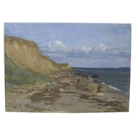 19th Century Skagan School Dutch Seascape Beach Oil Painting