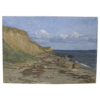 Antique Skagan School Dutch Seascape Beach Oil 19th Century Painting