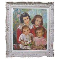 Edith Blum 1920s Children Portrait HEYDENRYK Vintage Carved Frame
