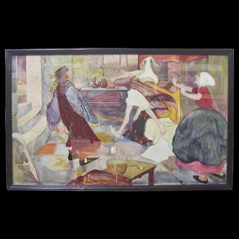 1920s Comical Art FREDERICK BLANCHARD Original Painting Figures Lovers
