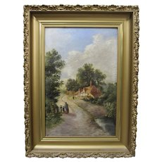 19th Century English Village Mother Children Oil Painting Signed Dated