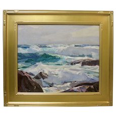 FRANK HARMON MYERS Original Monterey California Coastal Seascape 1940s Oil Signed