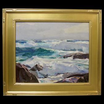 FRANK HARMON MYERS Original Monterey California Coastal Seascape 1940s Oil Signed