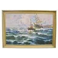 Large 19th Century Spanish Ship Seascape Oil Painting Antique Maritime Art