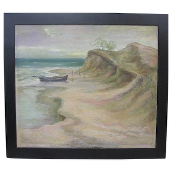 Vintage German Expressionism Seascape Oil Painting 1930s Signed Fritz Kempe