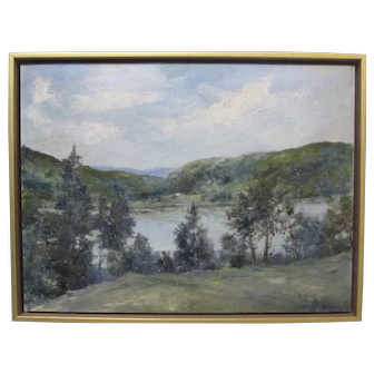 Lake Saco Maine Antique Original Oil Painting Signed GEORGE FROST