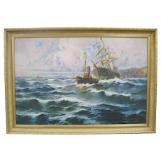 Very Fine 19th Century Spanish Maritime Oil Painting SIGNED Francisco Hernandez Monjo