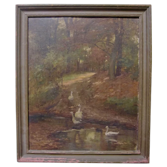 19th Century Swans Geese Forest Impressionist Landscape Oil Painting Antique