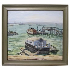 Jean Abendroth 1933 Reiffel Exhibition Original San Diego Harbor California Plein Air Impressionist Seascape